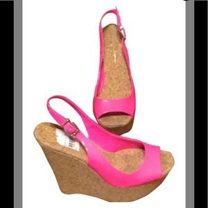 Jessica simpson bright pink wedge sandal size 7.5B